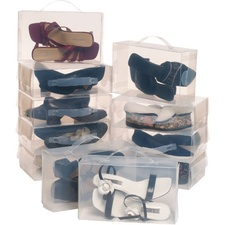 10 קופסאות שקופות לאיכסון נעליים