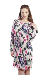 שמלת פליסה פרחונית ורודה
