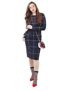 שמלה משובצת שחור אדום