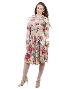 שמלת קפלים פרחונית ורודה