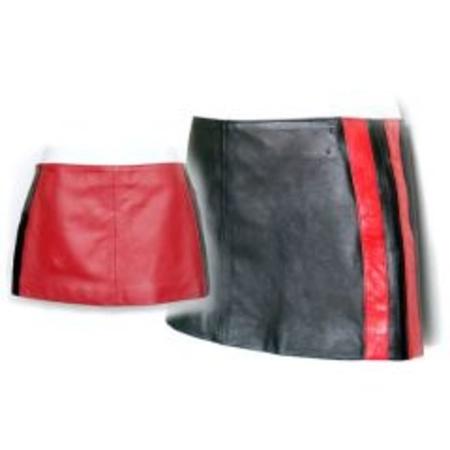 חצאית מעור עם פסים