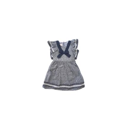 BONNIE BABY שמלה אפור תכלת ג'ינס עם סרט פפיון כחול